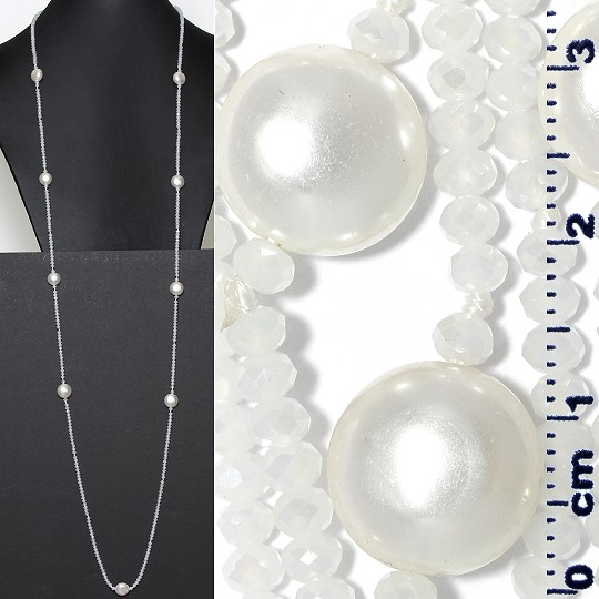 "Lariat Necklace +- 48"" Crystal Smooth Bead Frost White ZN159"