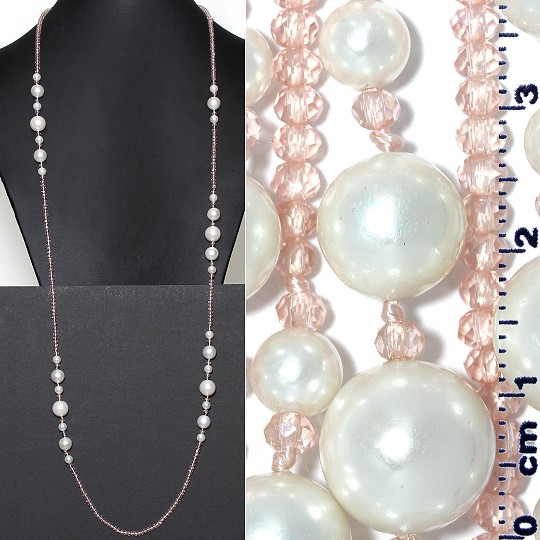 "Lariat Necklace +- 40"" Crystal & Smooth Beads Pink White ZN162"