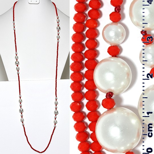 "Lariat Necklace +- 40"" Crystal & Smooth Beads Red White ZN163"