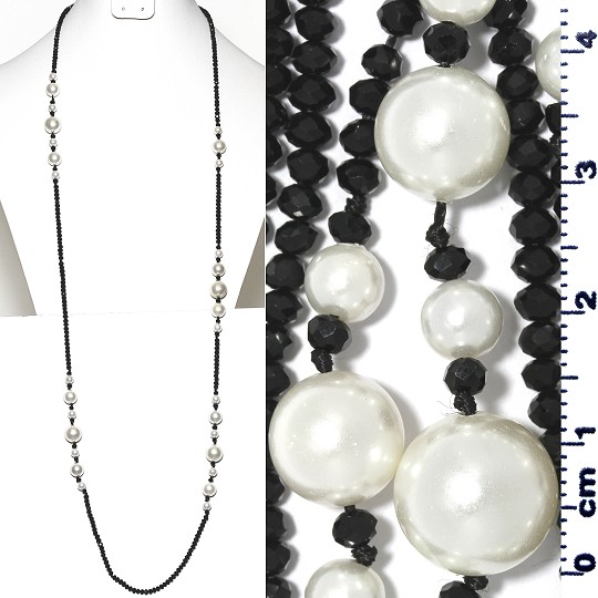 "Lariat Necklace +- 40"" Crystal & Smooth Beads Black White ZN164"