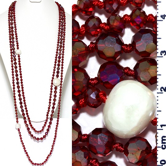 Necklace Lariat 3-Line Crystal And Lg Smooth Beads Maroon ZN165