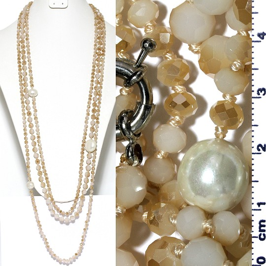 Necklace Lariat 3-Line Crystal And Lg Smooth Beads Tan Whi ZN166