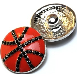 1pc 18mm Snap On Charm Basketball Rhinestone Orange Black ZR018