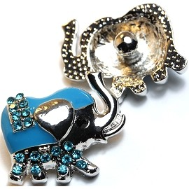 1pc 18mm Snap On Charm Elephant Silver Turquoise ZR029