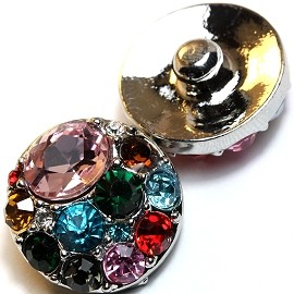 1pc 18mm Round Snap On Rhinestones Mix Color ZR045