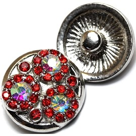 1pc 18mm Round Snap On Rhinestones Silver Red AB ZR055