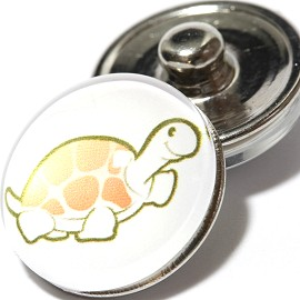1pc 18mm Snap On Charm Turtle Cartoon Gold White ZR1026