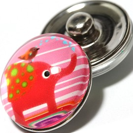 1pc 18mm Snap On Charm Elephant Cartoon Red Pink ZR1052
