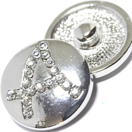1pc 18mm Snap On Charm Rhinestone Silver Letter - A - ZR1064