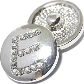 1pc 18mm Snap On Charm Rhinestone Silver Letter - E - ZR1068