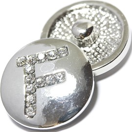 1pc 18mm Snap On Charm Rhinestone Silver Letter - F - ZR1069