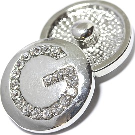 1pc 18mm Snap On Charm Rhinestone Silver Letter - G - ZR1070