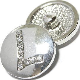 1pc 18mm Snap On Charm Rhinestone Silver Letter - L - ZR1075