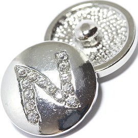 1pc 18mm Snap On Charm Rhinestone Silver Letter - N - ZR1077