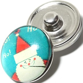 1pc 18mm Snap On Charm Cartoon Christmas Santa Claus Teal ZR1106