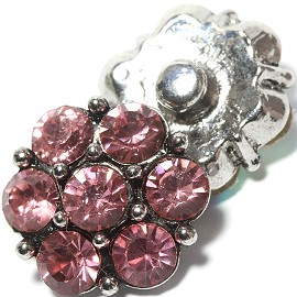 1pc 18mm Flower Snap On Rhinestones Pink ZR1138