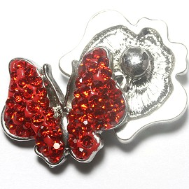 1pc 18mm Snap On Charm Rhinestone Red Butterfly ZR1166
