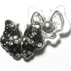 1pc 18mm Snap On Charm Rhinestone Black butterfly ZR1167