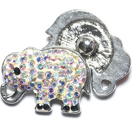 1pc 18mm Snap On Charm Rhinestone Elephant clear AB ZR1184