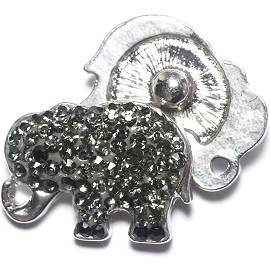 1pc 18mm Snap On Charm Rhinestone Elephant ZR1186
