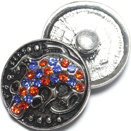 1pc 18mm Snap On Charm Rhinestone Gator blue orange ZR1188