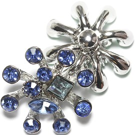 1pc 18mm Snap On Charm Rhinestone Blue ZR1199