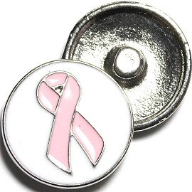 1pc 18mm Snap On Charm Pink Ribbon ZR1233