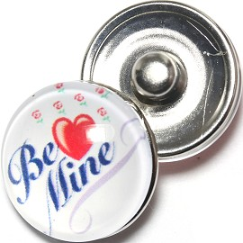 1pc 18mm Snap On Charm Heart Be Mine White Red ZR1258
