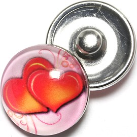 1pc 18mm Snap On Charm Heart Red Pink ZR1268