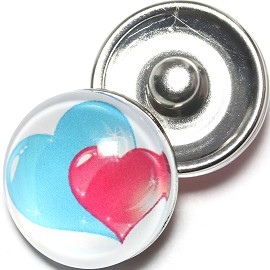 1pc 18mm Snap On Charm Heart Turquoise Pink ZR1269