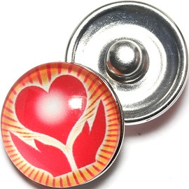 1pc 18mm Snap On Charm Heart Hand Gold Red ZR1275