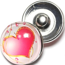 1pc 18mm Snap On Charm Heart White Magenta Pink ZR1277