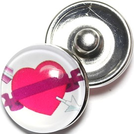 1pc 18mm Snap On Charm Heart White Magenta ZR1278