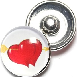 1pc 18mm Snap On Charm Heart Arrow White Red ZR1284