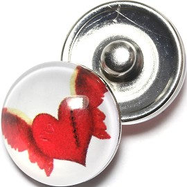 1pc 18mm Snap On Charm Heart Wings White Red ZR1285