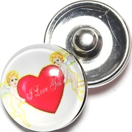 1pc 18mm Snap On Charm Heart Angels I Love You White Red ZR1287