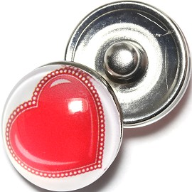1pc 18mm Snap On Charm Heart White Red ZR1289