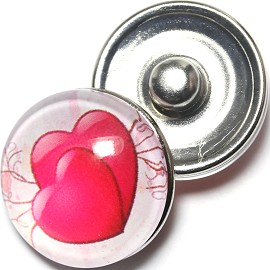 1pc 18mm Snap On Charm Heart White Red ZR1290