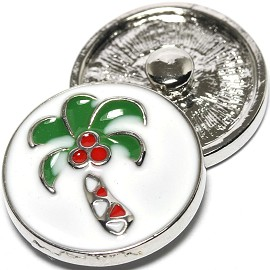 1pc 18mm Snap On Charm Palm Tree Green Red ZR1304