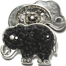 1pc 18mm Snap on Rhinestone Black Elephant ZR1333