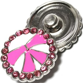 1pc 18mm Snap On Charm Rhinestone Pink ZR1347