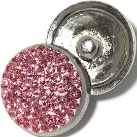 1pc 18mm Snap On Rhinestone Pink ZR1358