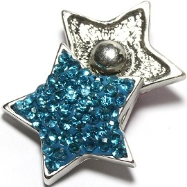 1pc 18mm Snap On Charm Rhinestone Blue Star ZR1382