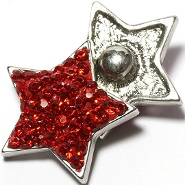 1pc 18mm Snap On Charm Rhinestone Red Star ZR1383