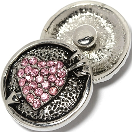 1pc 18mm Snap On Charm Rhinestone Pink Heart Arrow ZR1419