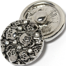1pc 18mm Skull Snap On Charm Clear Rhinestone Silver ZR1420