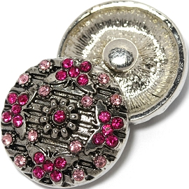 1pc 18mm Snap On Charm Pink Rhinestone Butterfly ZR1438