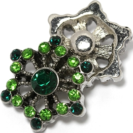 1pc 18mm Snap On Charm Green Rhinestone ZR1446
