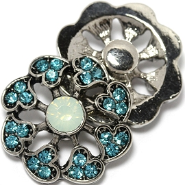 1pc 18mm Snap On Charm Blue Rhinestone Heart ZR1449