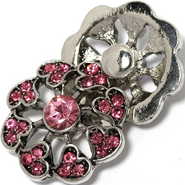 1pc 18mm Snap On Charm Pink Rhinestone Heart ZR1452